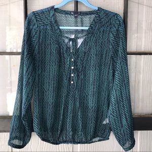 Gap sheer blouse, blue and green pattern